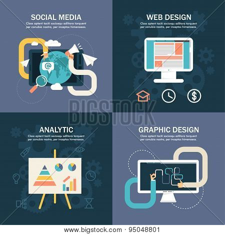 Set Of Flat Vector Business Illustrations. Social Media, Web Design, Analytic, Graphic Design
