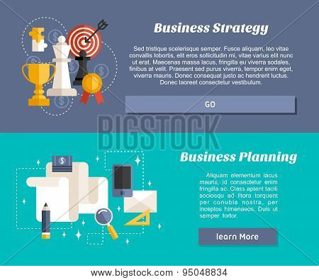 Flat Design Concept For Web Banners And Promotional Materials. Business Strategy And Business Planni