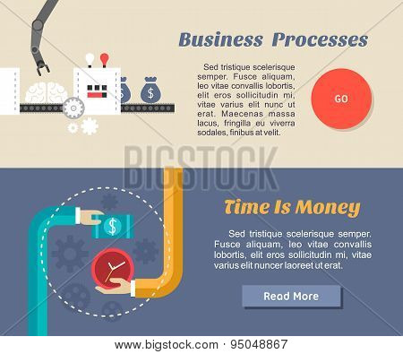 Flat Design Concept For Web Banners And Promotional Materials. Business Process, Time Is Money