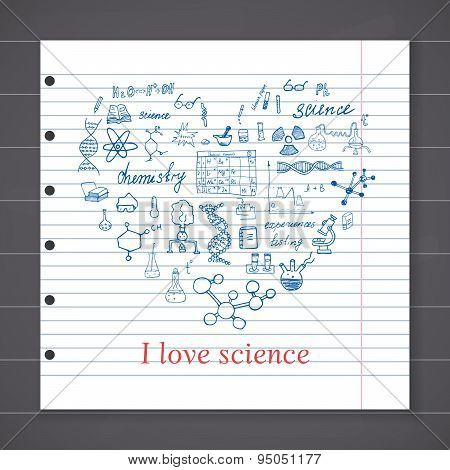 Chemistry And Sciense Elements Doodles Icons Set. Hand Drawn Sketch With Microscope, Formulas, Exper