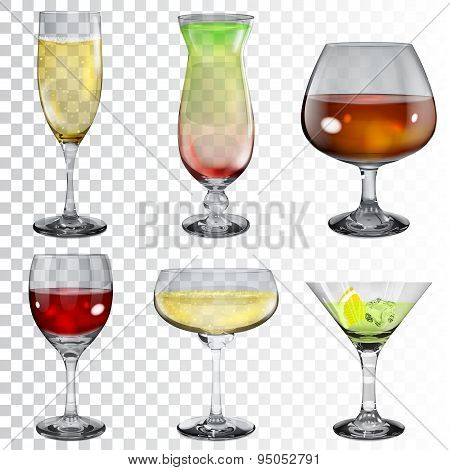 Set Of Transparent Glass Goblets With Different Drinks