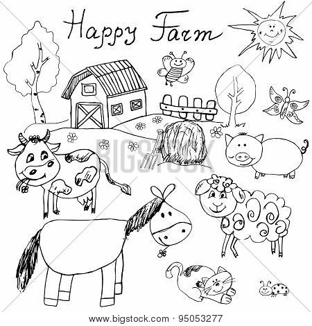 Happy farm doodles icons set. Hand drawn sketch with horse cow sheep pig and barn. childlike cartoony sketchy vector illustration isolated. poster