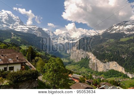 Beautiful Lauterbrunnen Valley in Switzerland
