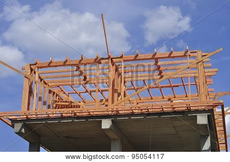 The Construction Of A Private House. The Wooden Frame Of The Attic.