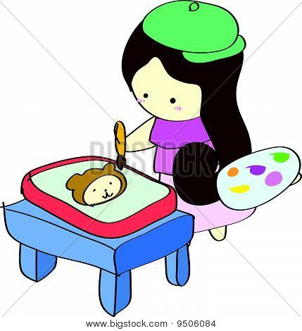 Young girl painting picture on table