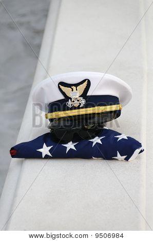 Us Coast Guard Hat And American Flag