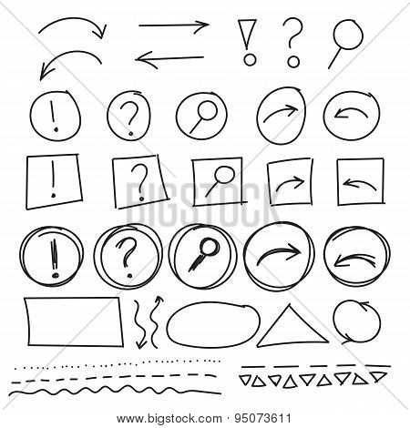 Hand drawn navigation symbols for web-site design in 4 styles with bonus shapes.  Back, next, FAQ, s