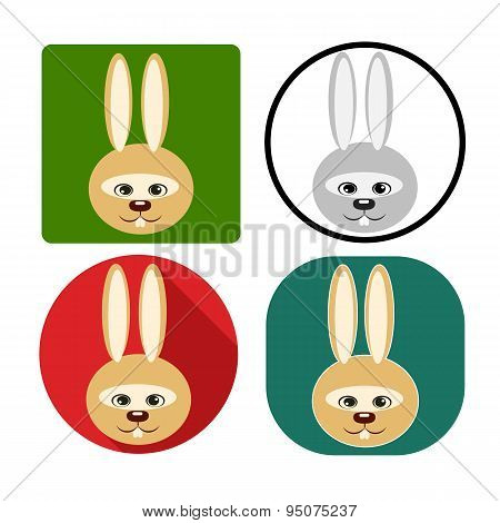 vector illustration set character muzzle rabbit flat silhouettes in color on different background poster