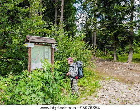 Young Tourist Near Scheme Mountain Routes