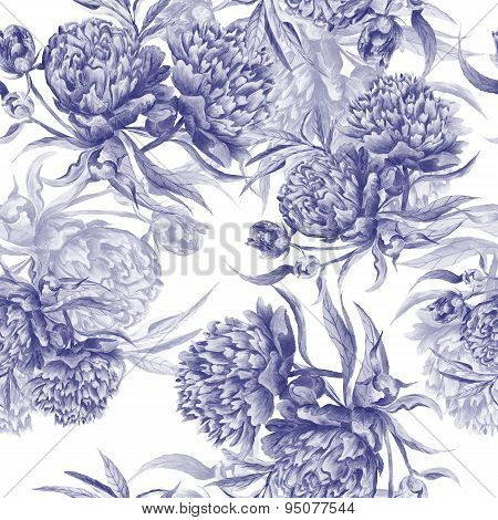 Grisaille Watercolor Peony Texture