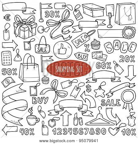 Vector set of shopping items, colorless cartoon collection