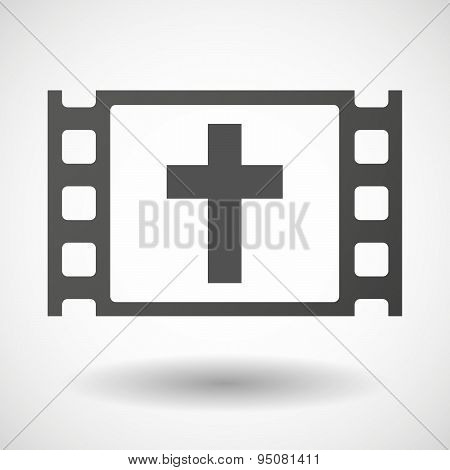 Illustration of a 35mm film frame with a christian cross poster