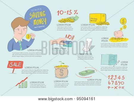 Saving Money Info Graphics. Drawing Paint Flat Vector.