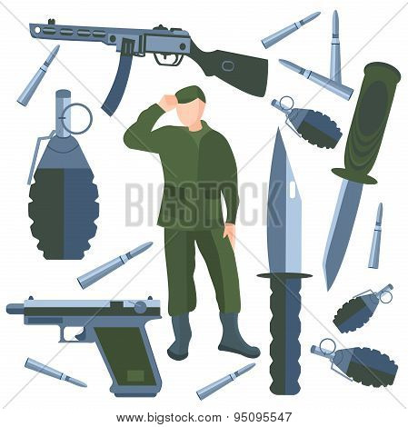 Set isolated weapons, soldier weapon, knife, bullet, grenade