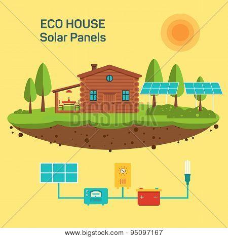 Vector eco green house.