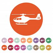 The helicopter icon. Copter symbol. Flat Vector illustration. Button Set poster