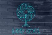 keep cool: electric fan design abot fighting the summer heat waves poster