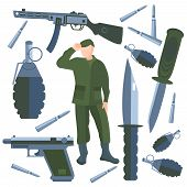 Set on a military theme. Weapons of war, soldier on a white background. Vector illustration in cartoon style. Icons weapons, knives, grenades bullets  into a flat style. Isolated vector Illustration poster