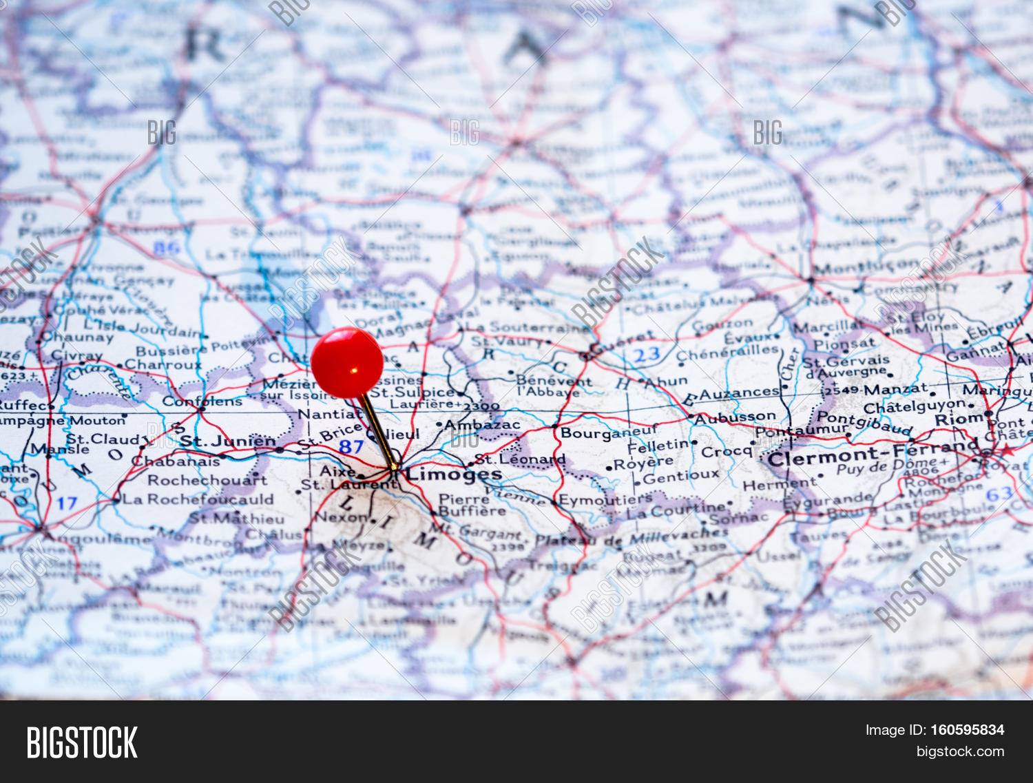 Limoges France Map.Limoges France Pinned Image Photo Free Trial Bigstock