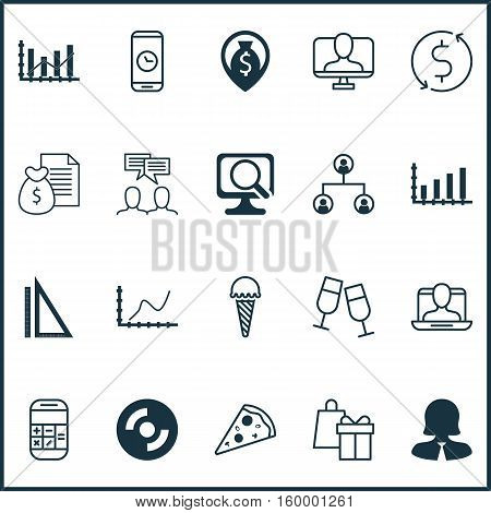 Set Of 20 Universal Editable Icons. Can Be Used For Web, Mobile And App Design. Includes Elements Such As Calculation, Call Duration, Blank Cd And More.