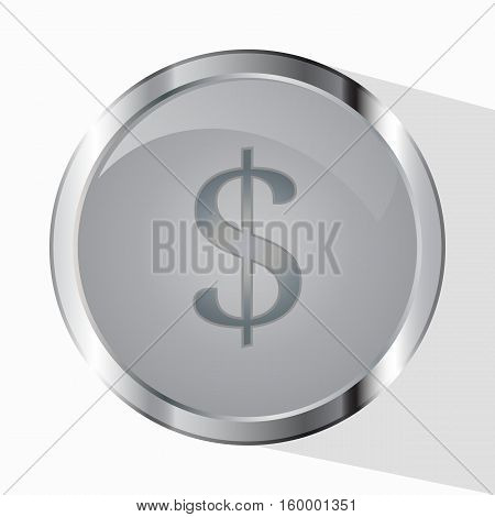 Money. Vector Illustration Symbol Wealth. The Coin And Dollar The Sign Cent Are Isolated On A White