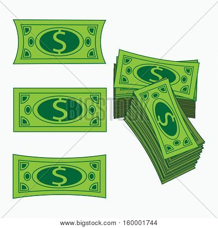 Icon Simple American Dollar. Concept Business Profit. A Vector An Illustration On White It Is Easy T