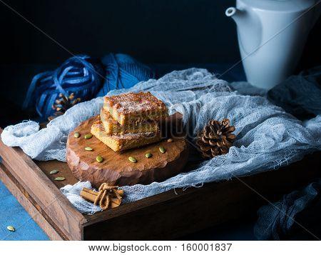 Winter Breakfast Still Life With Spiced Blondies. Dark Background