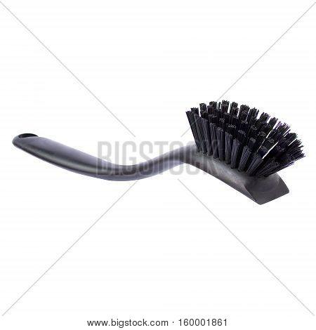 Plastic brush for dishwashing isolated on a white background