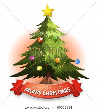 Illustration of a cartoon merry christmas tree with wishes and happy new year message on red banner