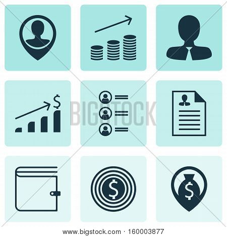 Set Of 9 Human Resources Icons. Can Be Used For Web, Mobile, UI And Infographic Design. Includes Elements Such As Increase, Growth, Applicants And More.