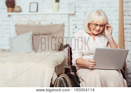 In touch with the world. Pleasant concentrated lederly woman sitting in the wheelchair and using laptop at home