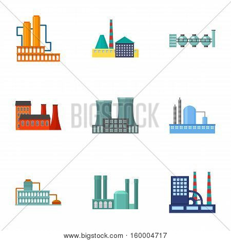 Factory set icons in cartoon style. Big collection of factory vector symbol stock
