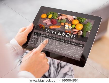 Low Carb Diet on portable tablet computer