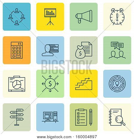 Set Of 16 Project Management Icons. Can Be Used For Web, Mobile, UI And Infographic Design. Includes Elements Such As Advertising, Research, Investment And More.