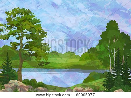 Landscape, Pine, Fir Trees and Grass on the Shore of a Lake on Hand-Draw Oil Painting Background