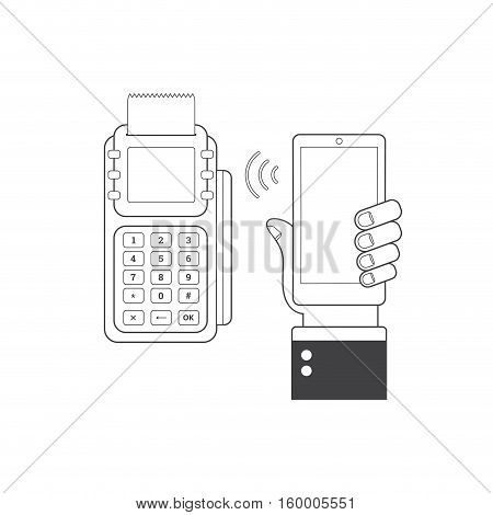 NFC technology concept. Smartphone and POS-terminal processing of mobile payments. E-commerce. Vector illustration