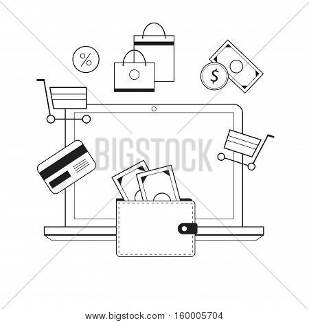 Investing and Personal Finance Credit and Budgeting. Cashflow management and financial planning. E-commerce. Vector illustration