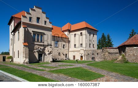 Polna Czech Republic - August 312016: Former Castle Chateau and now a museum in Polna. Polna is a historic town in East Bohemia the historic core of the city is an urban conservation area.