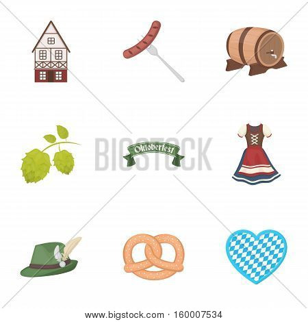 Oktoberfest set icons in cartoon style. Big collection of Oktoberfest vector symbol stock
