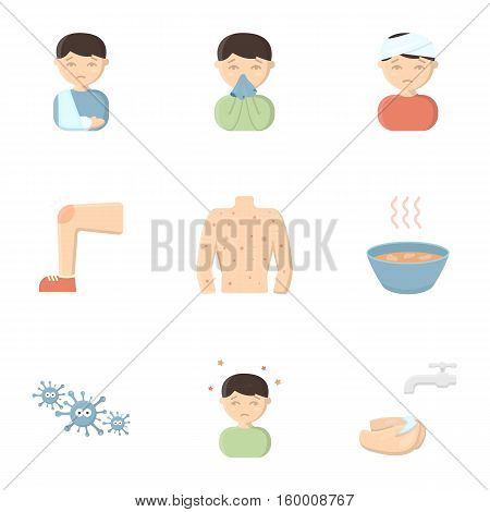 Sick set icons in cartoon style. Big collection io sick vector symbol stock