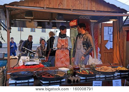 PRAGUE, CZECH REPUBLIC - SEPTEMBER 28, 2015: Wooden stalls with traditional street food in Prague Castle (Hradchany), Prague, Czech Republic.