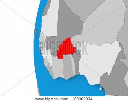 Burkina Faso On Globe