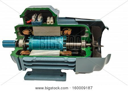 Opened electric motor on the white background