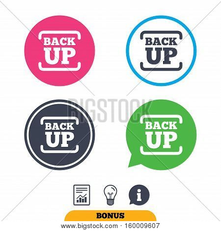 Backup date sign icon. Storage symbol with arrow. Report document, information sign and light bulb icons. Vector