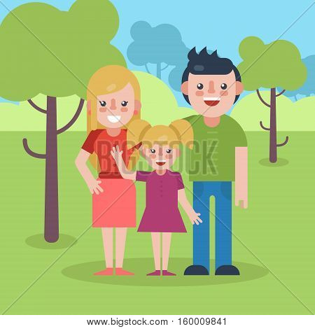 Young parents flat vector illustration. Young family on natural park background. Mother father and daughter flat illustration. Family vector. Parents with child.