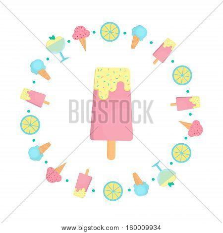 Ice cream bar in flat style. Vector illustration of ice cream in circle shape for bars restaurants menu.