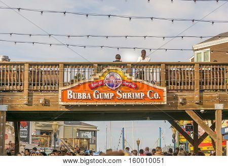San Francisco, CA, USA, october 23, 2016: Bubba Gump Shrimp Co. sign in Pier 39 in San Francisco