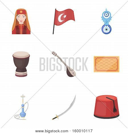 Turkey set icons in cartoon style. Big collection of Turkey vector symbol stock