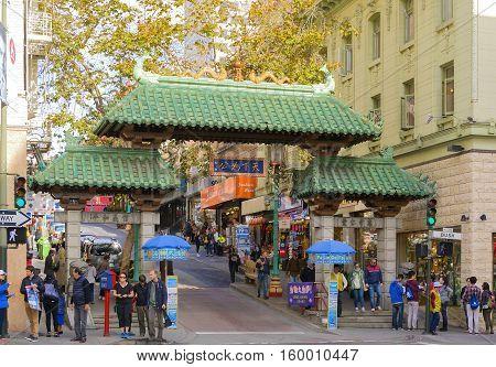 San Francisco CA USA October 23 2016: China Town Dragon Gate in San Francisco