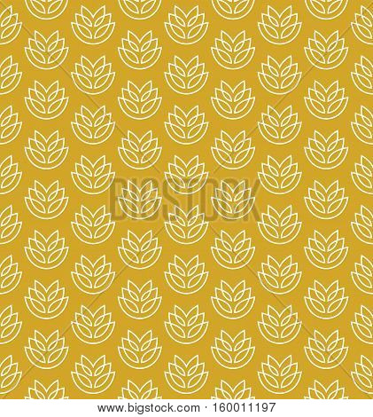 Wheat ears seamless pattern. Stylized elegant linear ears white on yellow color.